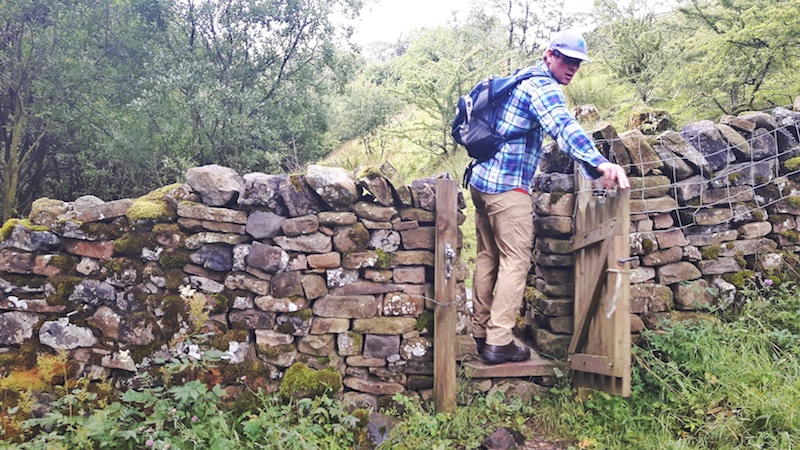 Man walking through a gate in a dry stone wall while hiking in Yorkshire Dales, England.