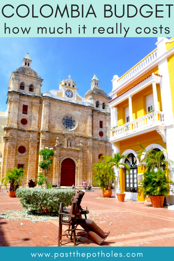 Cartagena cathedral with text: Colombia budget, how much does it really cost?