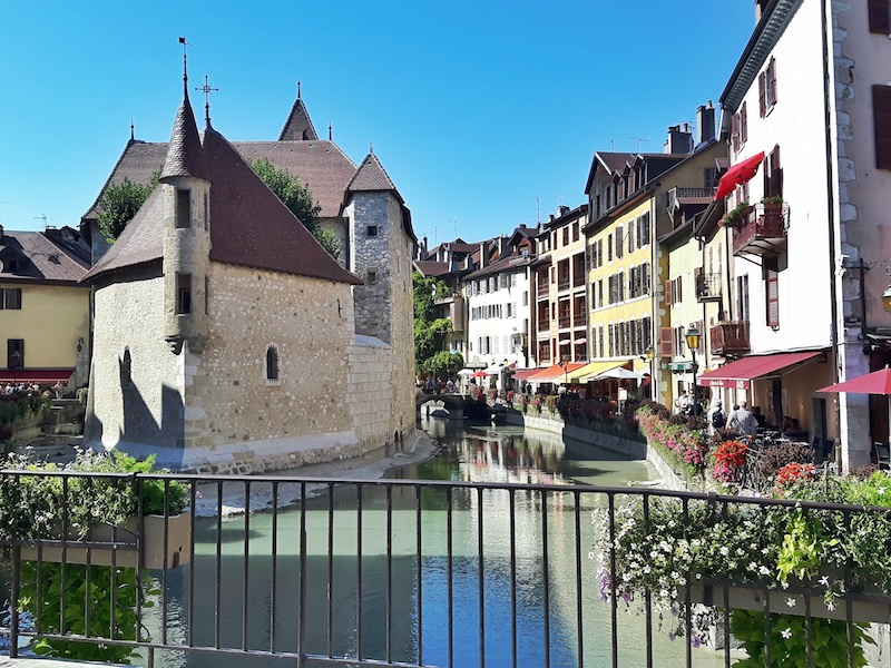 Castle on an island in the canals of Annecy in the French Alps.