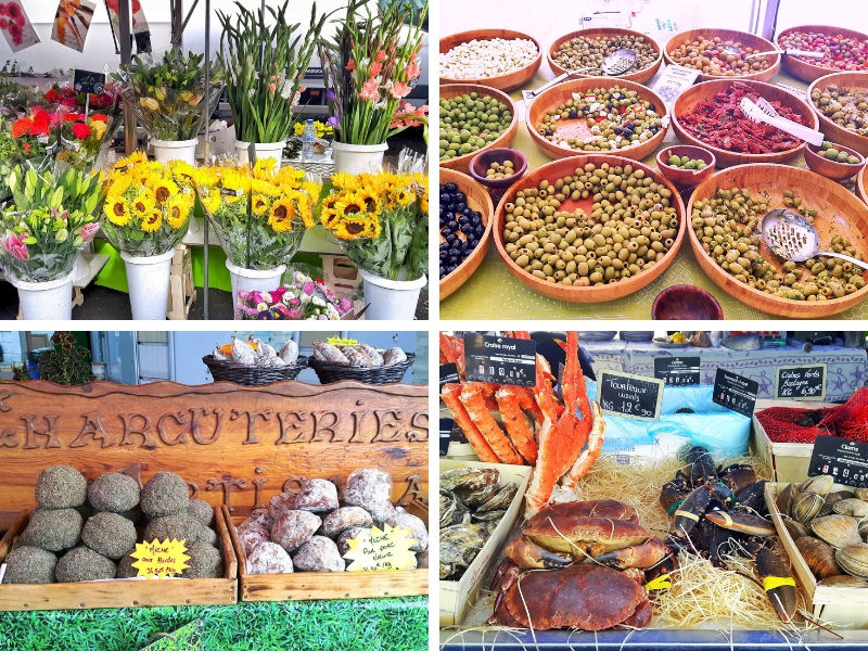 Various pictures of stalls at Ferney-Voltaire market, France.