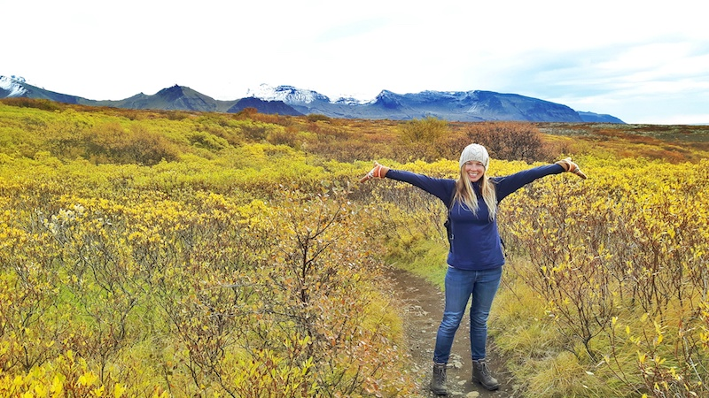 Woman in the middle of trail surrounded by yellow foliage with snow-capped mountains behind in Skaftafell National Park, Iceland.