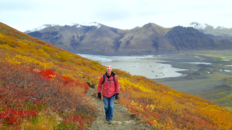Man walking along a path surrounded by yellow and red plants with Skaftafell glacier behind him, Iceland.