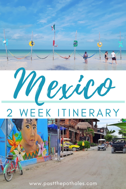 picture of Holbox beach and bright graffiti with text: Mexico, 2 week itinerary
