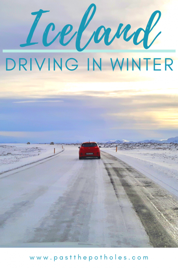 Red car driving on icy road in Iceland with text: Iceland, driving in winter