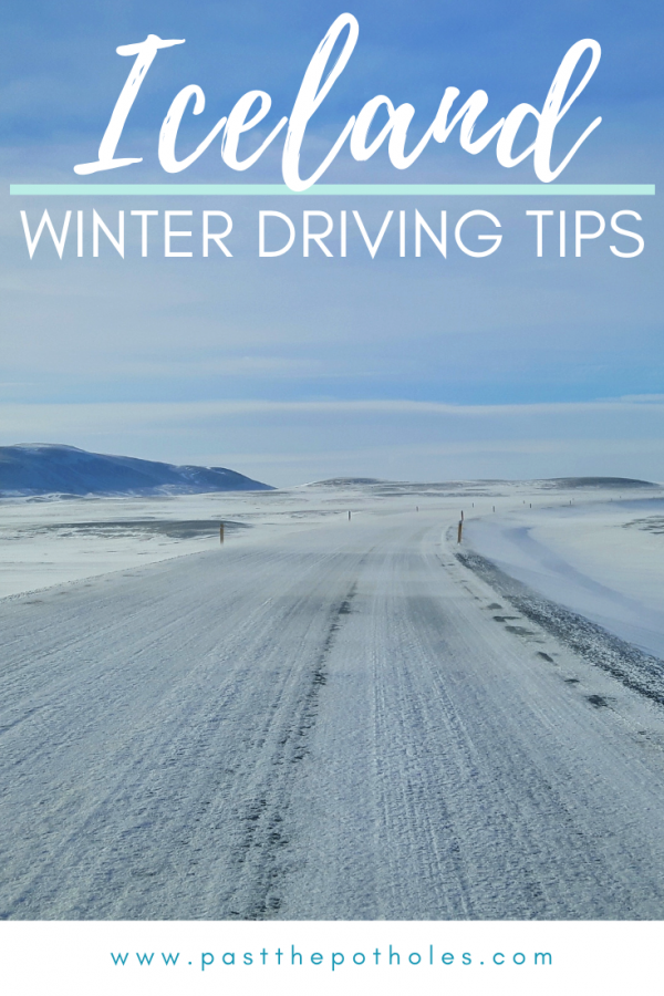 snow covered Iceland road with text: Iceland, winter driving tips