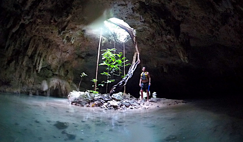 Inside a cave with a hole in the roof and tree roots coming in. Turquoise water all around in Cenote Sac Actun