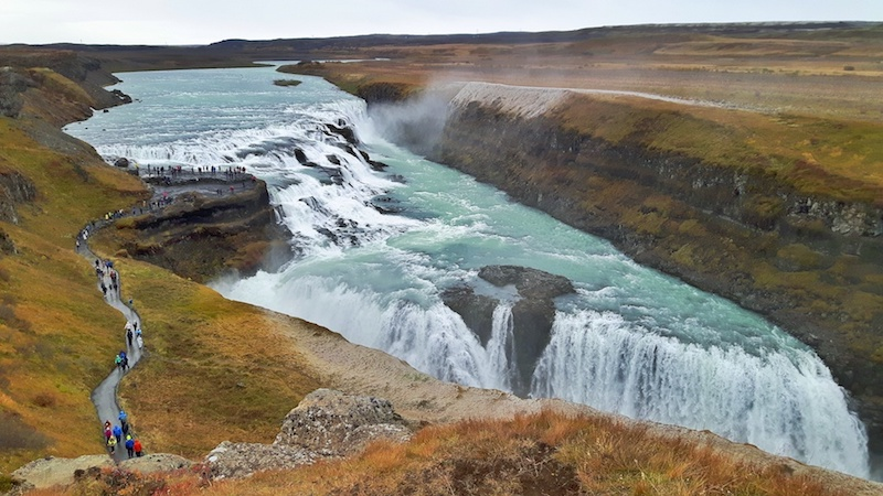 huge waterfall surrounded by cliffs, Gullfoss waterfall, Golden Circle, Iceland