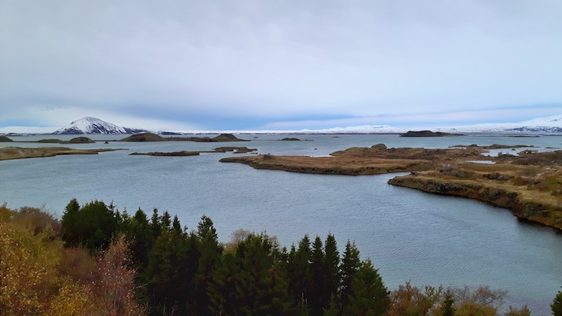 Views of small islands in Lake Myvatn from Hofdi, Iceland