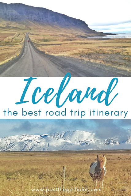 "Images of Iceland scenery with text ""Iceland; the best road trip itinerary"