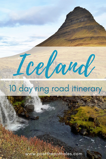 Kirkjufell waterfall with mountain behind with text Iceland 10 Day ring road itinerary