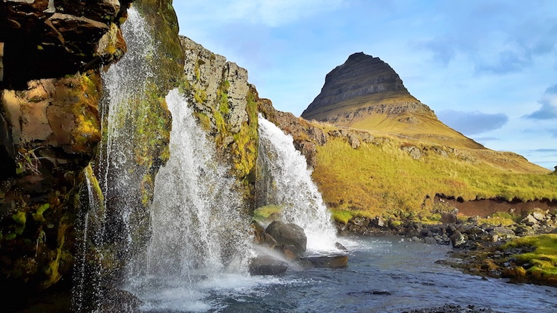 Triple waterfall and mountain at Kirkjufellsfoss, Iceland.