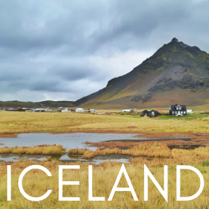 mountain, ponds and traditional house in Iceland