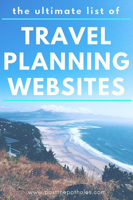 aerial view of long, wide beach with text: The ultimate list of Travel Planning Websites