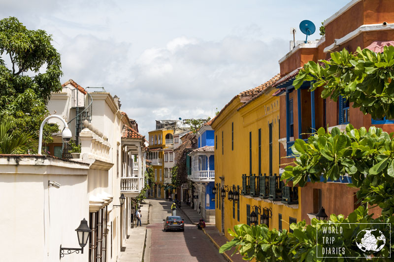 Colourful colonial buildings in the streets of Cartagena, one of the best places to visit in Colombia.