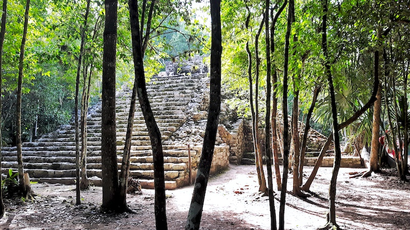 Small mayan pyramid surrounded by trees in Coba, Mexico.