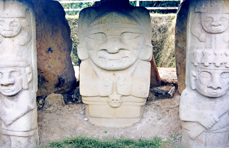Ancient stone statues of people in San Agustin, Colombia.