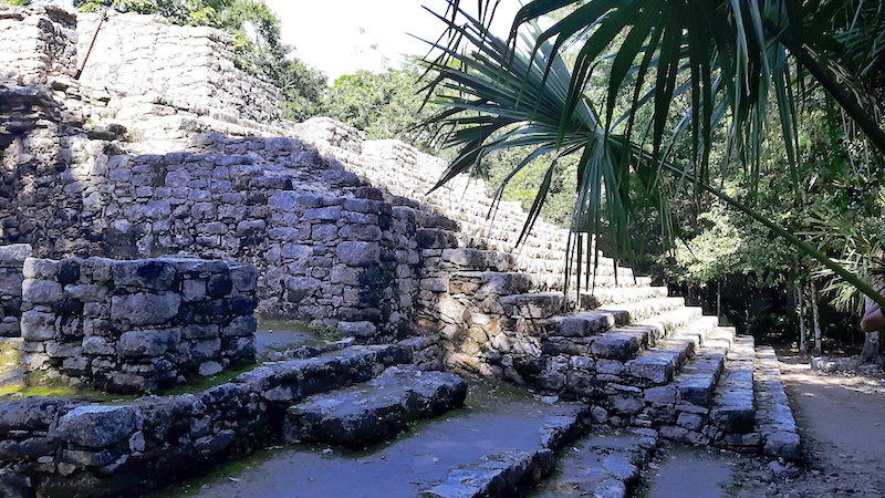 Stone steps on the back of a Mayan pyramid surrounded by jungle at Coba ruins, Mexico.