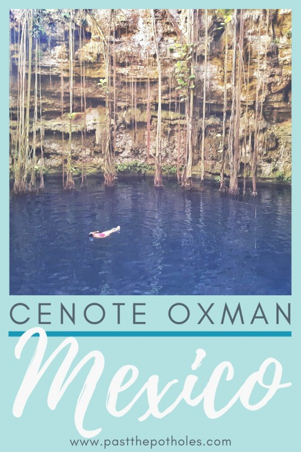 Woman floating in deep blue water at Hacienda San Lorenzo Oxman with text: Cenote Oxman, Mexico.