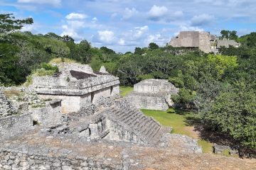 Collection of stone mayan ruins at Ek Balam, Valladolid, Mexico.
