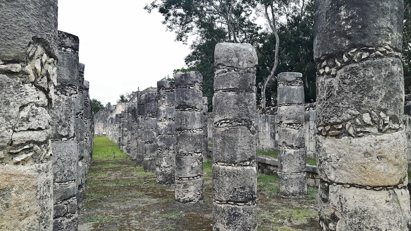 Rows and rows of stone columns in Chichen Itza, Mexico.