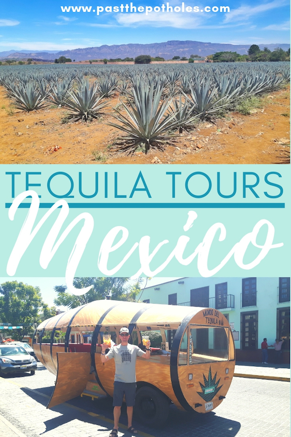 Agave field and barrel-shaped tequila tour bus with text: Tequila tours, Mexico