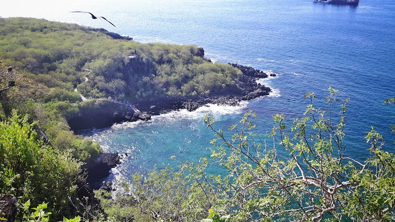 View of blue Darwin's Cove from Cerro Tijeretas lookout, San Cristobal Galapagos