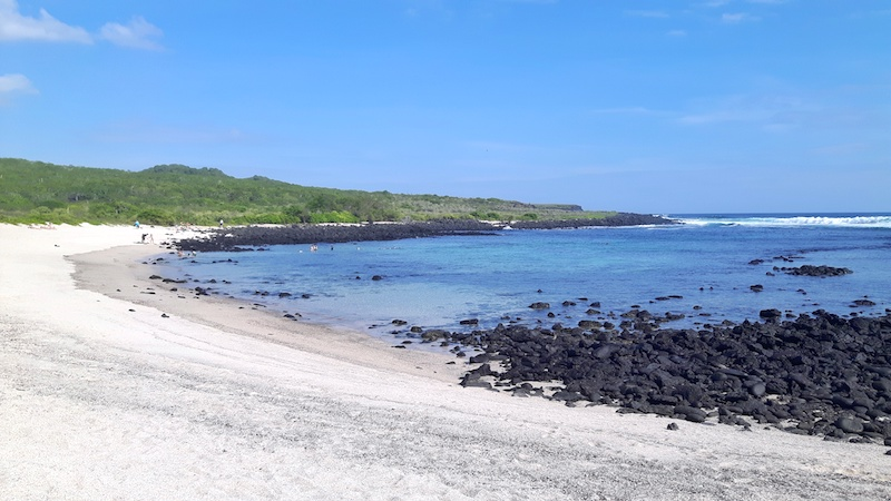 White sand, blue water and black lava rocks at La Loberia Beach, San Cristobal Galapagos.