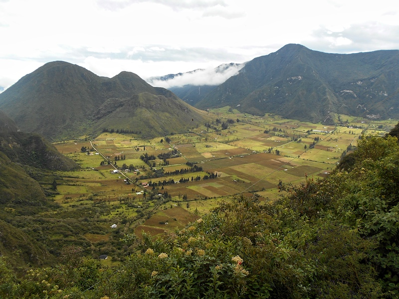 View of Pululahua Crater from above in Ecuador.