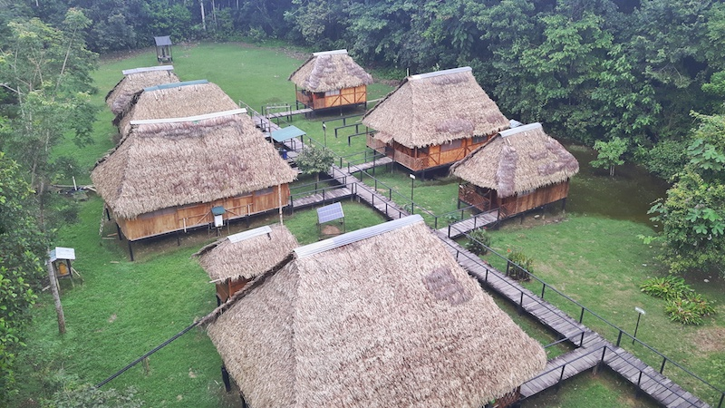 An Amazon eco lodge, Ecuador, from above.