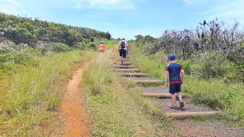 Walking up to crater lake El Junco, San Cristobal, Galapagos.
