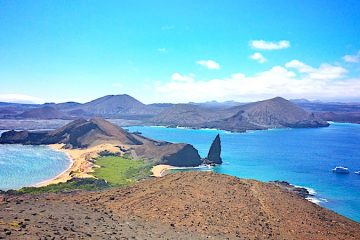 View of Pinnacle Rock from Bartolome Island, Galapagos Ecuador.
