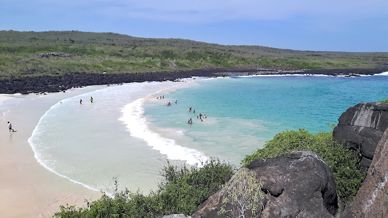 View of beautiful Puerto Chino beach in San Cristobal, Galapagos.