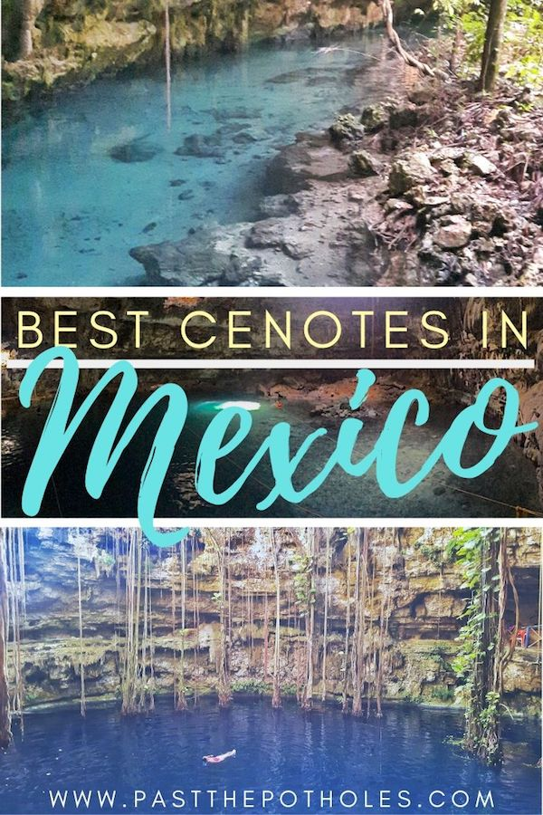 Clear blue water in water-filled caves with text: Best cenotes in Mexico.