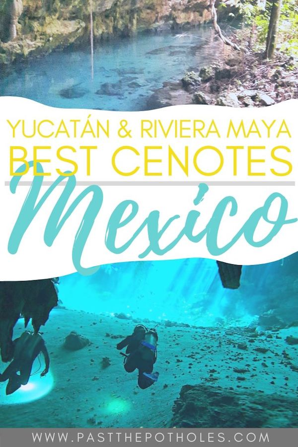 "Blue water and divers underground with text ""Best Cenotes in Yucatan & Riviera Maya, Mexico."""