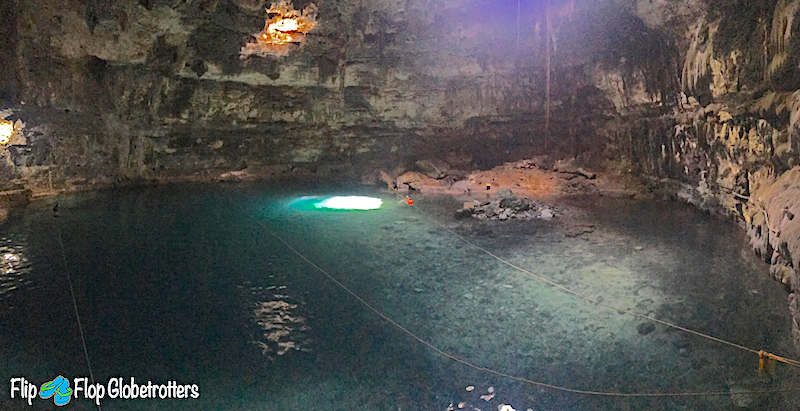 Inside the water-filled cavern at Cenote Samula near Valladolid Mexico.