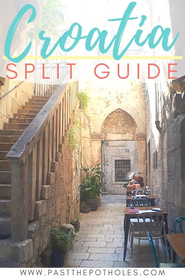Tables in a narrow alley with text: Croatia, Split Guide.