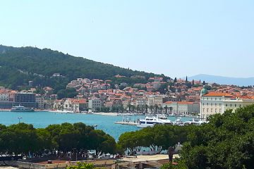 Panoramic view of Split and Marjan Hill, Croatia.