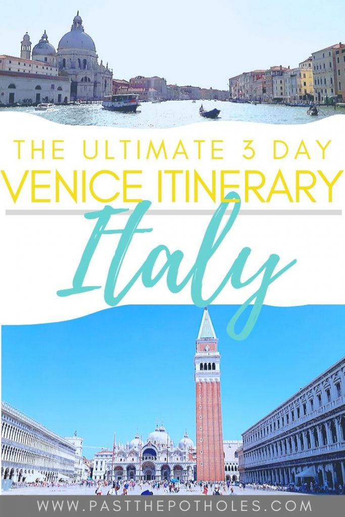 How to spend 3 days in Venice Itinerary. City guide pinterest image.